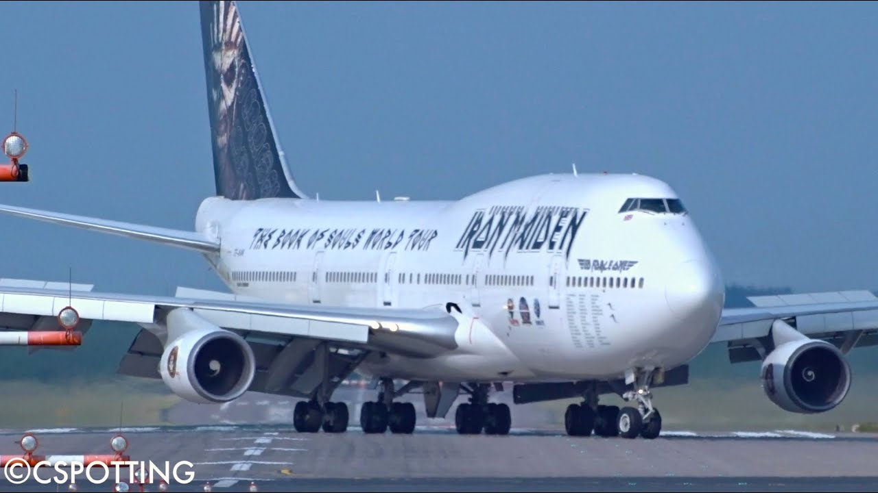 iron maiden boeing 747 400 ed force one landing at dusseldorf airport youtube. Black Bedroom Furniture Sets. Home Design Ideas