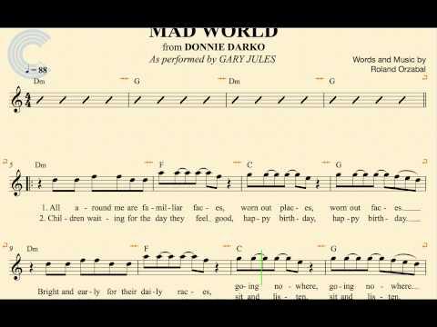 Alto Sax - Mad World - Gary Jules - Donnie Darko - Sheet Music, Chords, & Vocals