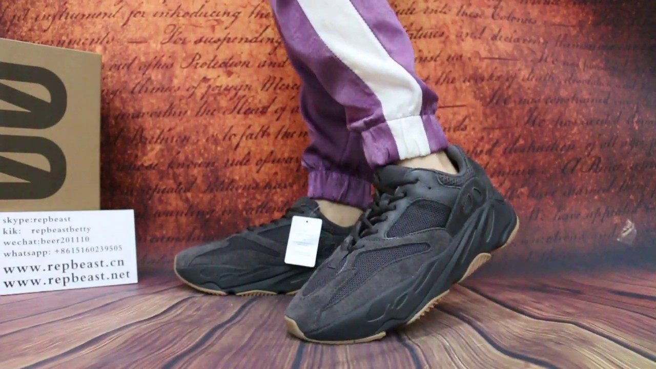 """100% authentic 6d4f1 51c79 Yeezy Boost 700 """"Utility Black"""" on feet"""