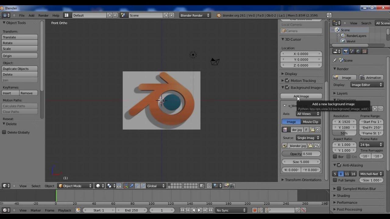 Como usar o background image - Tutorial Blender 2 61 Como Usar Uma Imagem De Fundo Background Image