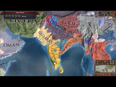 EU4 Gujarat into Hindustan Timelapse