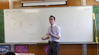 Circle Geometry Proof (Touching circles with a second common tangent)