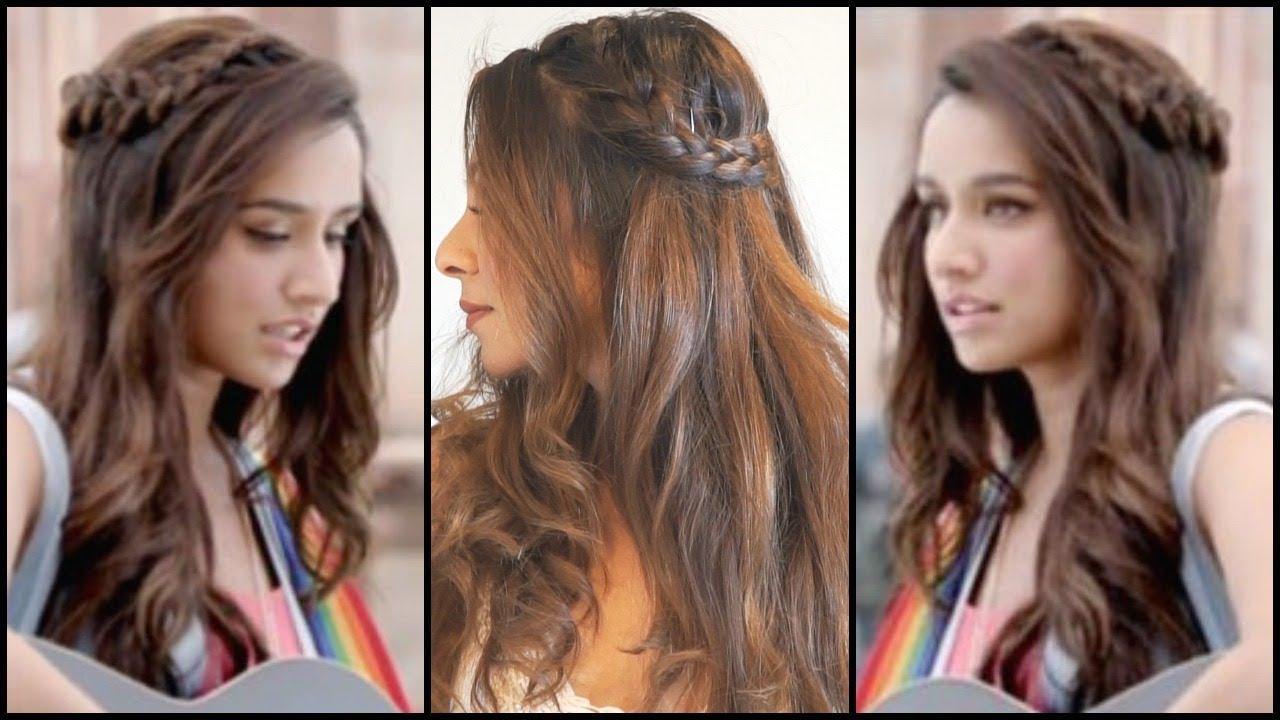 side braided hairstyle for medium long hair│shraddha kapoor half girlfriend easy wavy hair tutorial