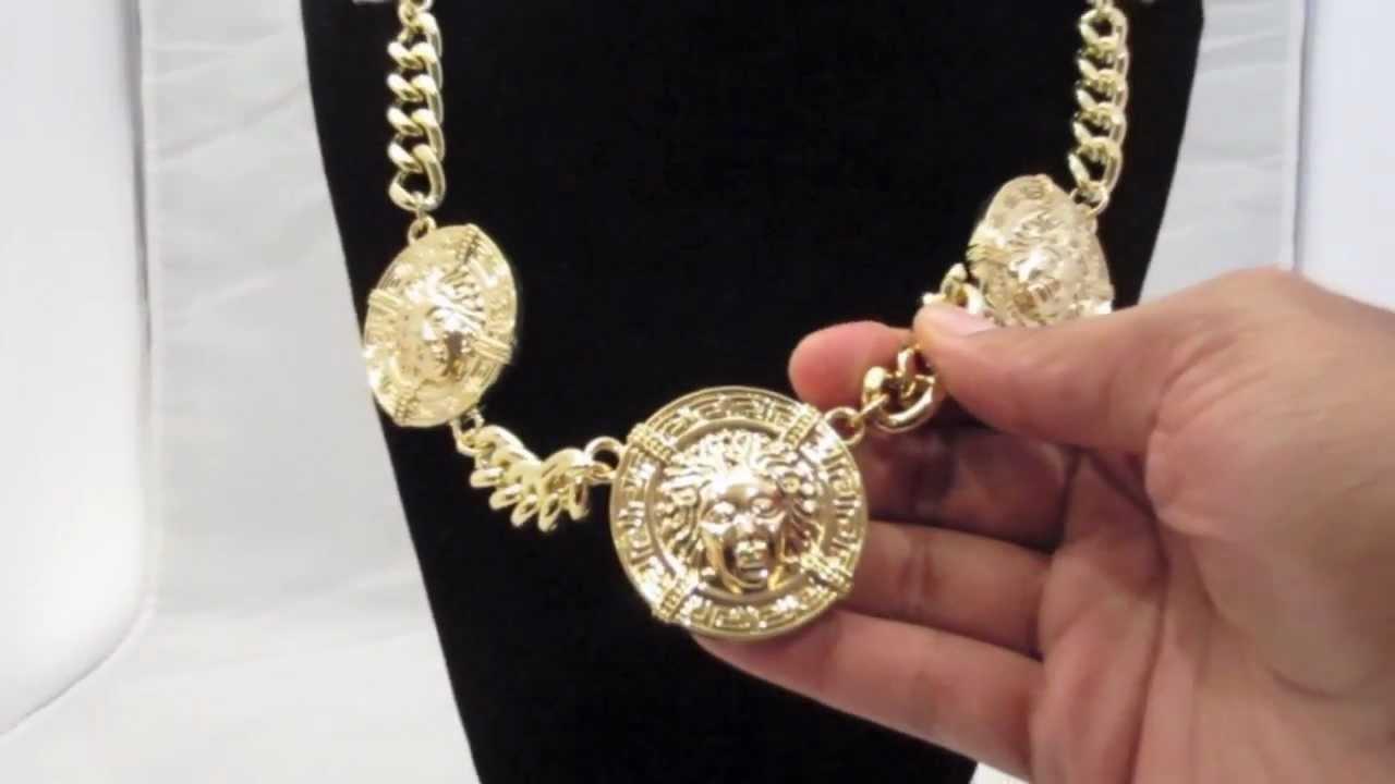 Gold Multi Medusa Pendant Chain Necklace Tyga 2 Chainz