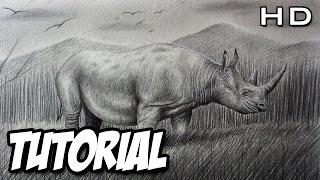 Cómo dibujar un Rinoceronte Realista a lápiz paso a paso - TUTORIAL