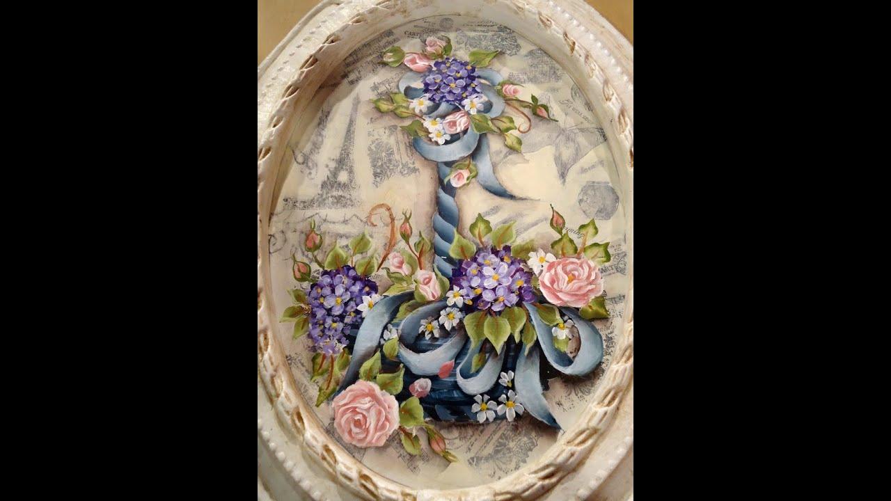 Como hacer pintura americana en un cuadro vintage youtube for Pintura para decoupage
