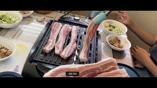 Puppy eating Korean pork belly…
