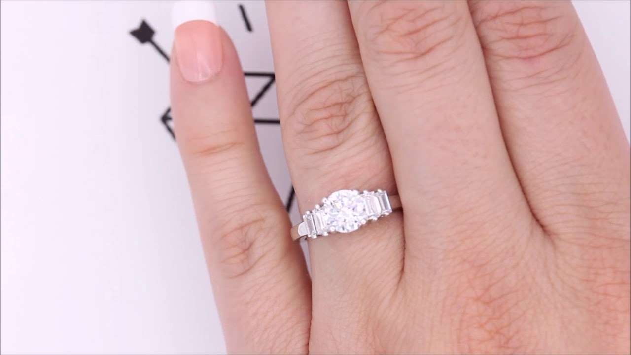 Straight Baguette Diamond Side Stone Engagement Ring - Allure - YouTube