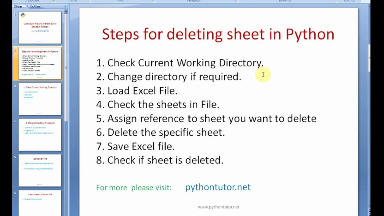 Python - delete a sheet in Excel file - openpyxl - pythontutor net
