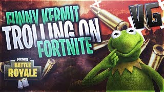 FUNNY KERMIT THE FROG TROLLING ON FORTNITE!!