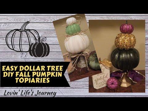 Easy Dollar Tree DIY Fall Pumpkin Topiaries