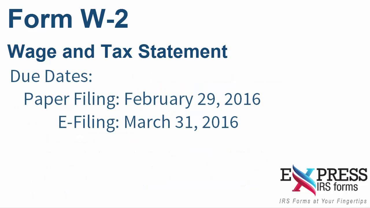 E-file Form W-2 for Wages and Tax Statements - YouTube