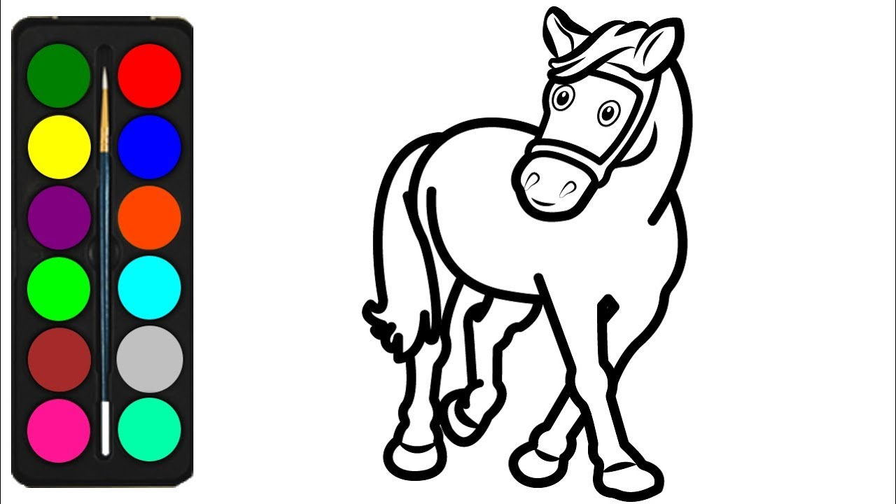 how to draw a horse coloring pages for kids  easy horse