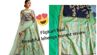 Flipkart lehenga unboxing#light green lehenga choli with dupatta review#beautiful lehanga
