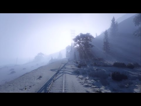 Winter train trip around snowy Los Santos | GTA V Online