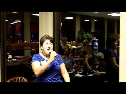 Kathy B. singing at Heimdal party