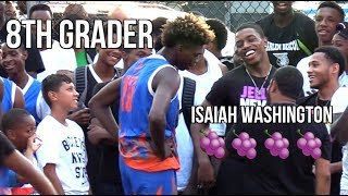 """8th Grader CALLS OUT Isaiah """"JellyFam"""" Washington To Play 1 on 1!! Sights & Sounds at Alimoe Classic"""