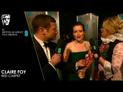 Claire Foy Eats Wine Gums on the Red Carpet   EE BAFTA Film Awards 2019