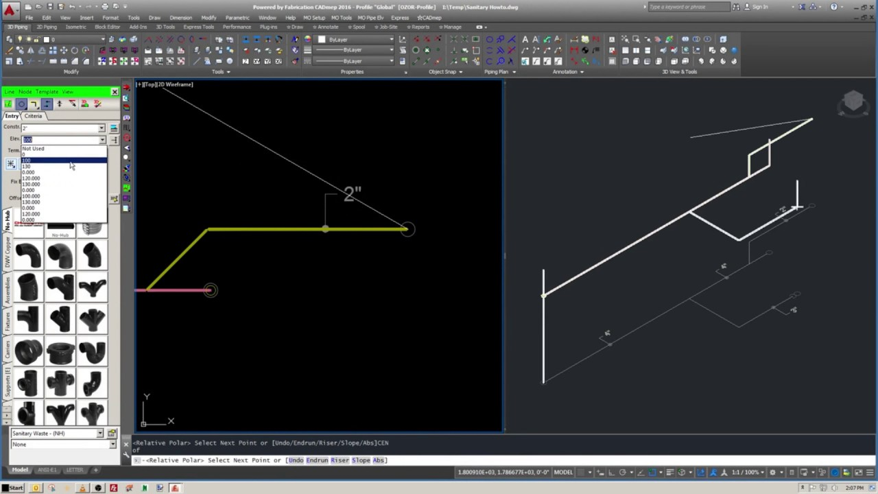 AutoCAD Fabrication - Sloped pipe Commentary