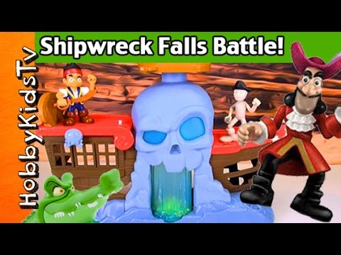 SHIPWRECK Falls BATTLE Play! Review Jake Cap Hook Treasure Disney Neverland by HobbyKidsTV