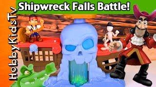SHIPWRECK Falls BATTLE Play + Review Jake, Cap Hook Treasure Disney Neverland by HobbyKidsTV