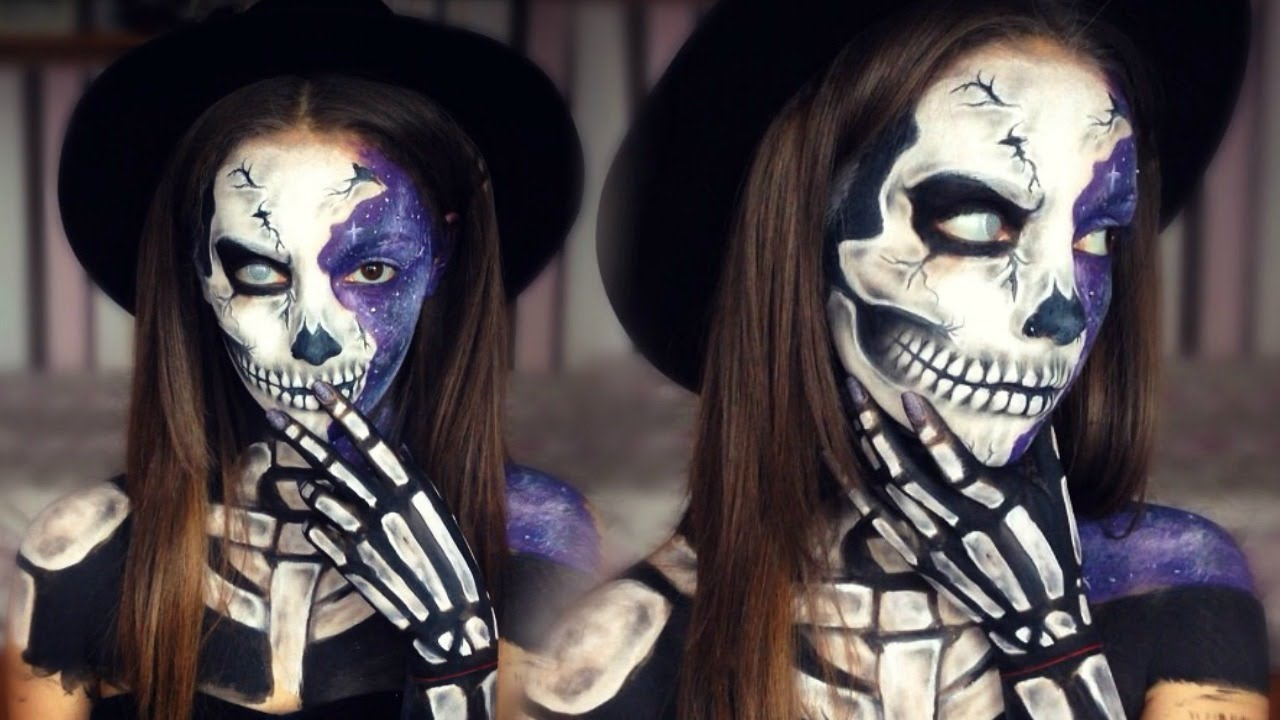 Galaxy Skull Halloween Makeup | Melania Yaneva 🔮💀 - YouTube
