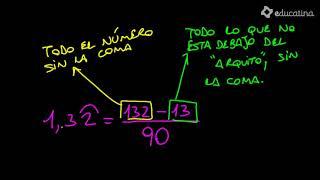 Pasar de decimal periódico mixto a fracción. - Aritmética - Educatina