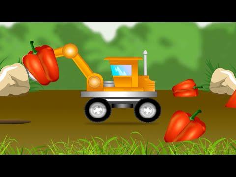 Машинки. Экскаватор. Учим овощи. Стихи про овощи. Развивающий мультик.