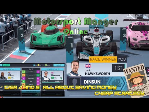 Motorsport Manager Online -  Tier 4 & 5 - All about Saving Money and Best Strategy [after update] |