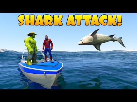 Hulk and Spiderman vs Shark Attack.  Learn animals 3D cartoon for Kids