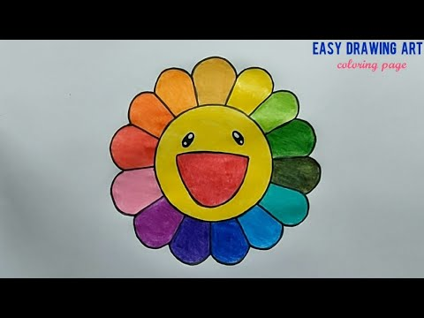 how to draw cute colorful flower || kawaii rainbow color flower coloring page for kids
