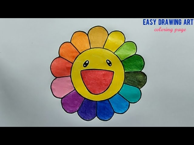 How To Draw Cute Colorful Flower Kawaii Rainbow Color Flower Coloring Page For Kids Youtube
