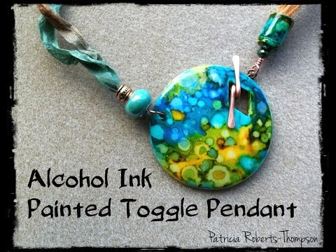 Alcohol Ink Painted Toggle Pendant