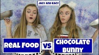 Real Food vs Chocolate Bunny Challenge ~ Jacy and Kacy