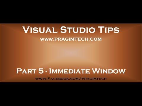 Part 5   Immediate window in visual studio