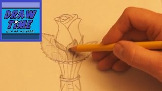 How to Draw a Vase With a Rose