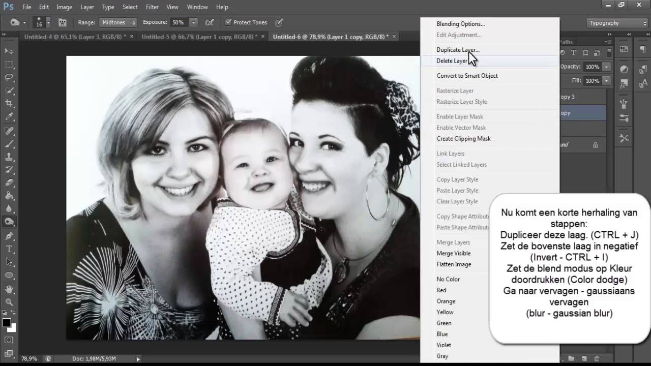 kopie photoshop foto omzetten naar zwart wit