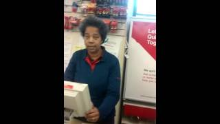 CVS cashier explaining something in nice manner by
