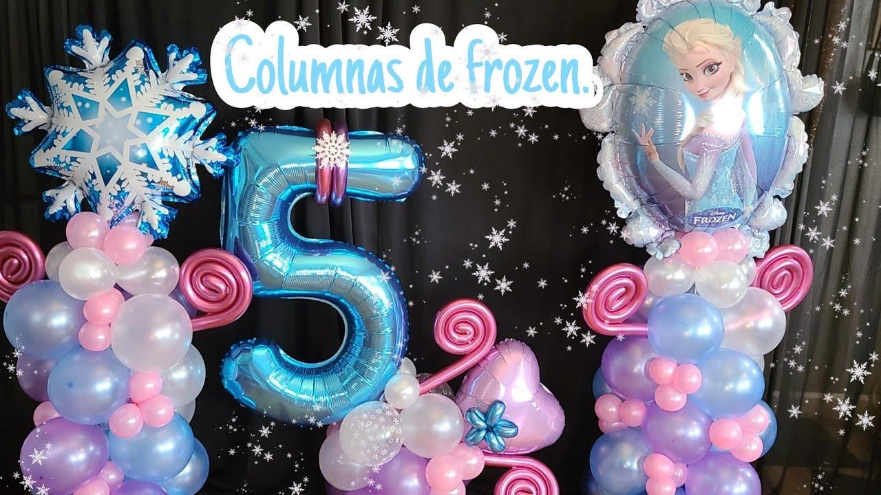 Download COLUMNA CON GLOBOS (decoración de FROZEN)-decoracion con globos de frozen Tatys Hernandez