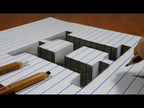 Draw A Letter H Hole On Line Paper   3D Trick Art