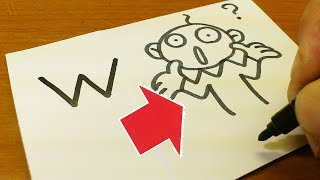 """Very Easy!How to turn Letter """"W"""" into a Cartoon for kids - How to Draw alphabets doodle art on paper"""