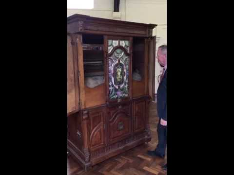 Historical barrel organ being auctioned at Peter Wilson Fine Art Auctioneers in Nantwich, Cheshire.