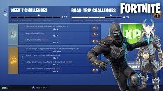 "GRINDING WEEK 7 CHALLENGES UNLOCKING ""RAGNAROK"" + ""ROAD TRIP"" AKA ""ENFORCER"" SKINS! (Fortnite Live)"