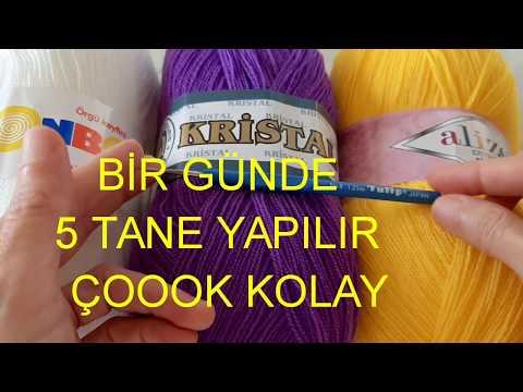 Mor - Sarı - Beyaz - Yeni Lif Modeli #serpilinelişidünyası - Kolay Lif Modeli - Kelebek #crochet