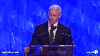 Anderson Cooper receives the Vito Russo Award from Madonna at the #glaadawards
