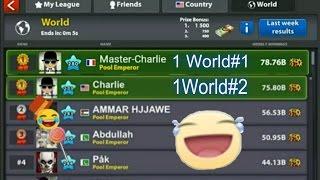 8 Ball pool(اول عالم )-Won WORLD LEAGUE twice! 75b and 78b. With my friends. ENJOY this  journey