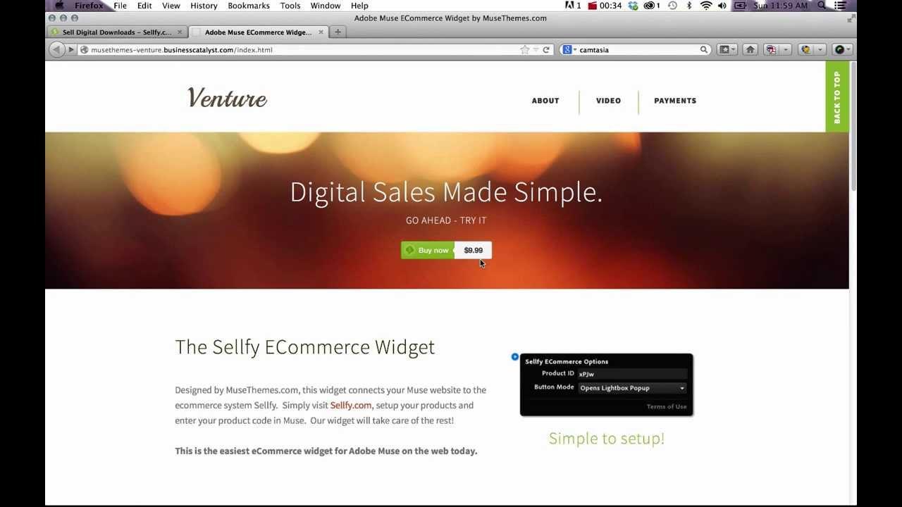 Adobe Muse CC eCommerce Widget - Sellfy Online Store Setup - YouTube