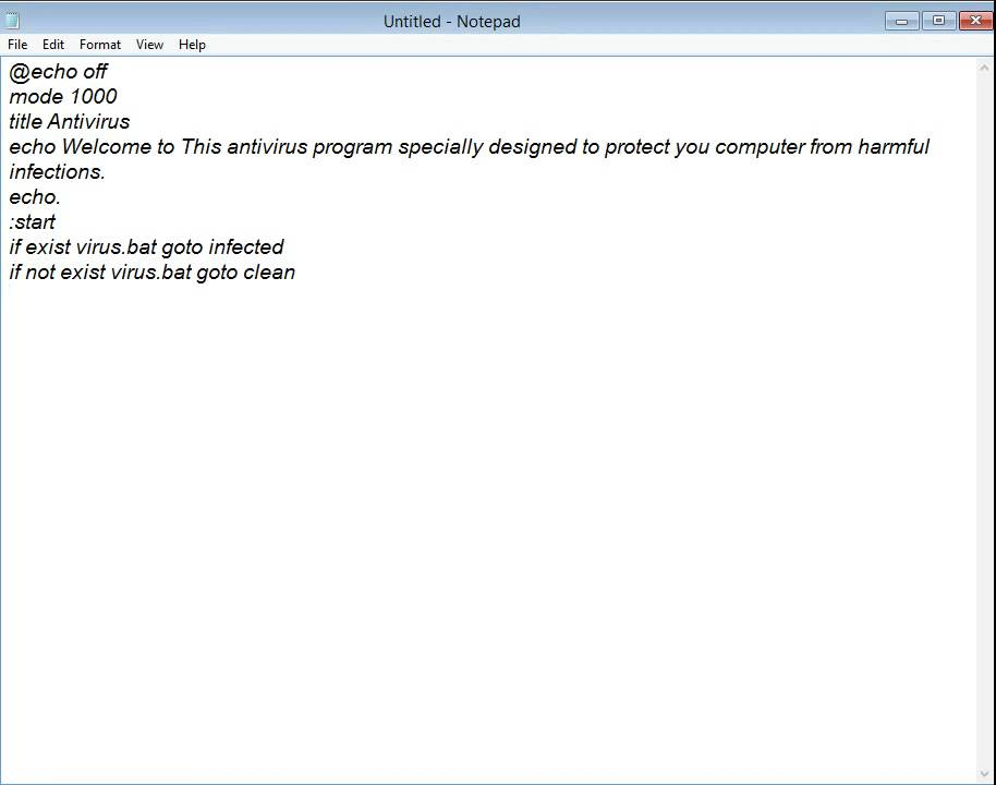 How To Make An Antivirus Program In Notepad Youtube