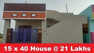 15 x 40 Individual 1 BHK Granite floor House for sale, Price @ Rs. 21 Lakhs
