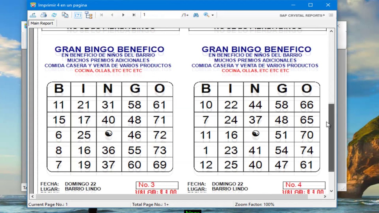 Programa Para Imprimir Tablas De Bingo Youtube